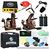 Dragonhawk 2 Brass Tattoo Machine Kit Power Supply Tattoo Needles Silicon Clip Cord Nonwovens Grip Cover for Tattoo Artists