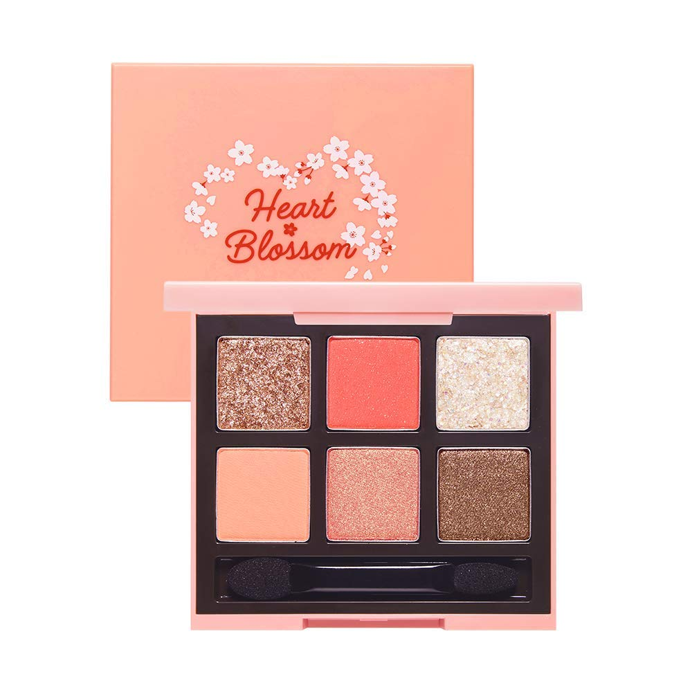 ETUDE HOUSE Play Color Eyes [Heart Blossom] (#2 Coral Blossom) | Multicolor Small Palette with Glitter Shimmer Matte for Perfect Eyemakeup with Jelly Texture