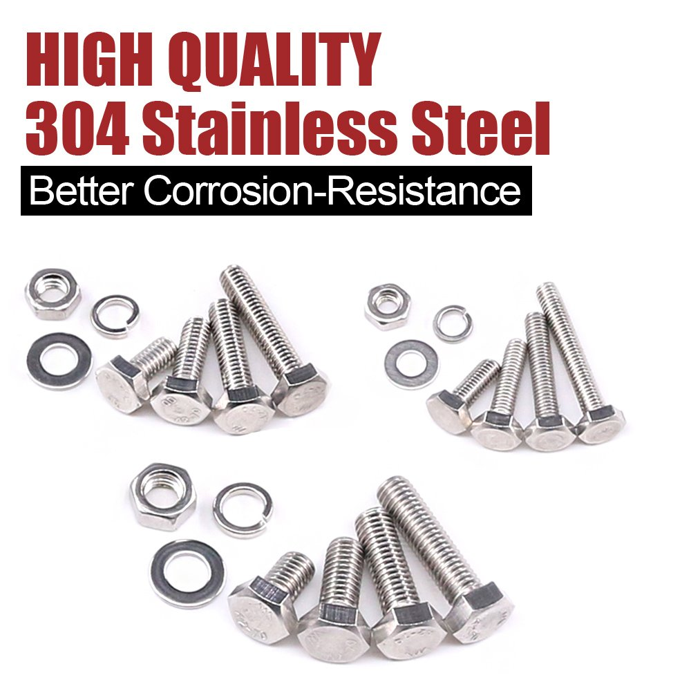 Hilitchi 705-Pcs M3 M4 M5 Hex Hexagon Head Cap Machine Screws Bolts Nuts Flat and Lock Washers Assortment Kit, 304 Stainless Steel, 8 to 20mm Length, Full Thread by Hilitchi (Image #4)