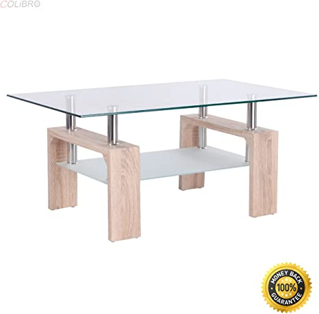 Colibrox Rectangular Glass Coffee Table Wood W Shelf Living Room Home Furniture New Cool Coffee Tables Creative Coffee Tables Square Coffee Tables Cherry Coffee Tables And End Tables Amazon Ca Home Kitchen