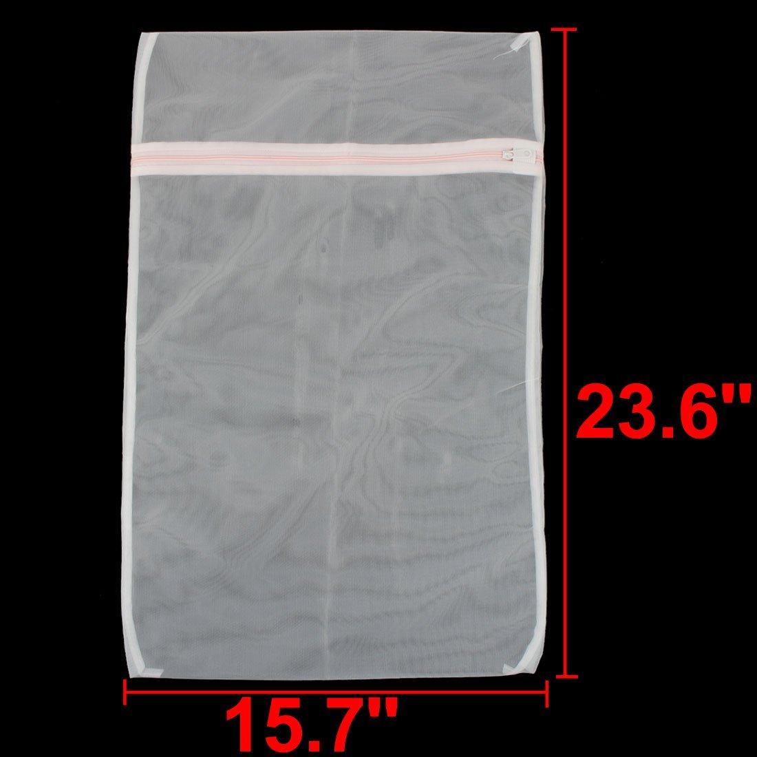 Amazon.com: eDealMax de Nylon Para el hogar Malla Con cremallera de cierre Lavar la ropa de lavandería Bolsa Blanca: Home & Kitchen