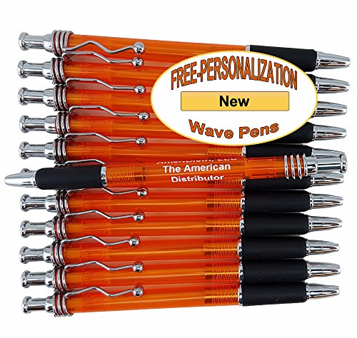 ezpencils - Personalized - Orange Body - Silver Clip, Top and Bottom with Black Grip - Wave Pens - 12 pkg FREE PERZONALIZATION -