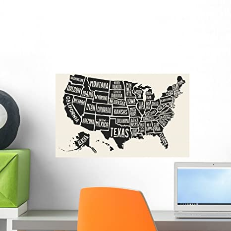 Amazon.com: Wallmonkeys Poster Map United States Wall Mural Peel and ...