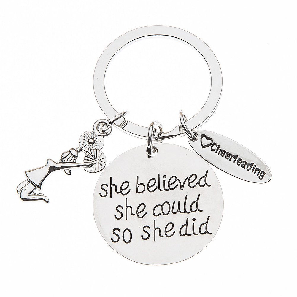 Sportybella Cheer Keychain- Girls Cheerleading She Believed She Could So She Did Key Chain, Cheerleader Charm Keychain, Cheer Jewelry for Cheerleaders & Cheer Coaches