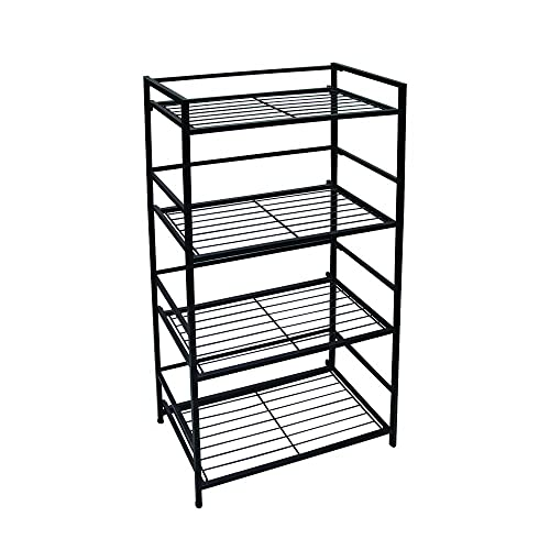 Flipshelf 37634DS -Folding Metal Bookcase-Small Space Solution-No Assembly-Home, Kitchen, Bathroom and Office Shelving-Black, 4 Shelves, Wide