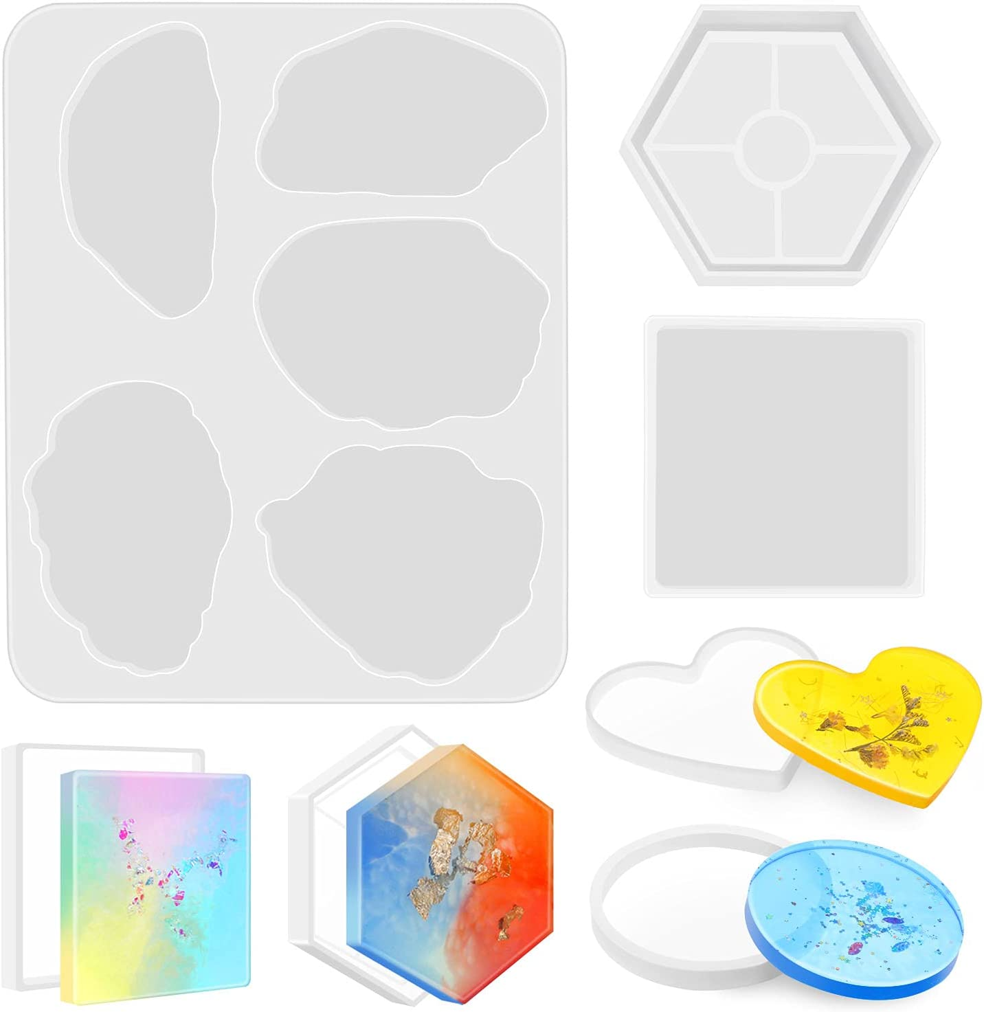 Silicone Coaster Pad Resin Casting Mold Agate Epoxy Mould Fruit Bowl Basket Rack