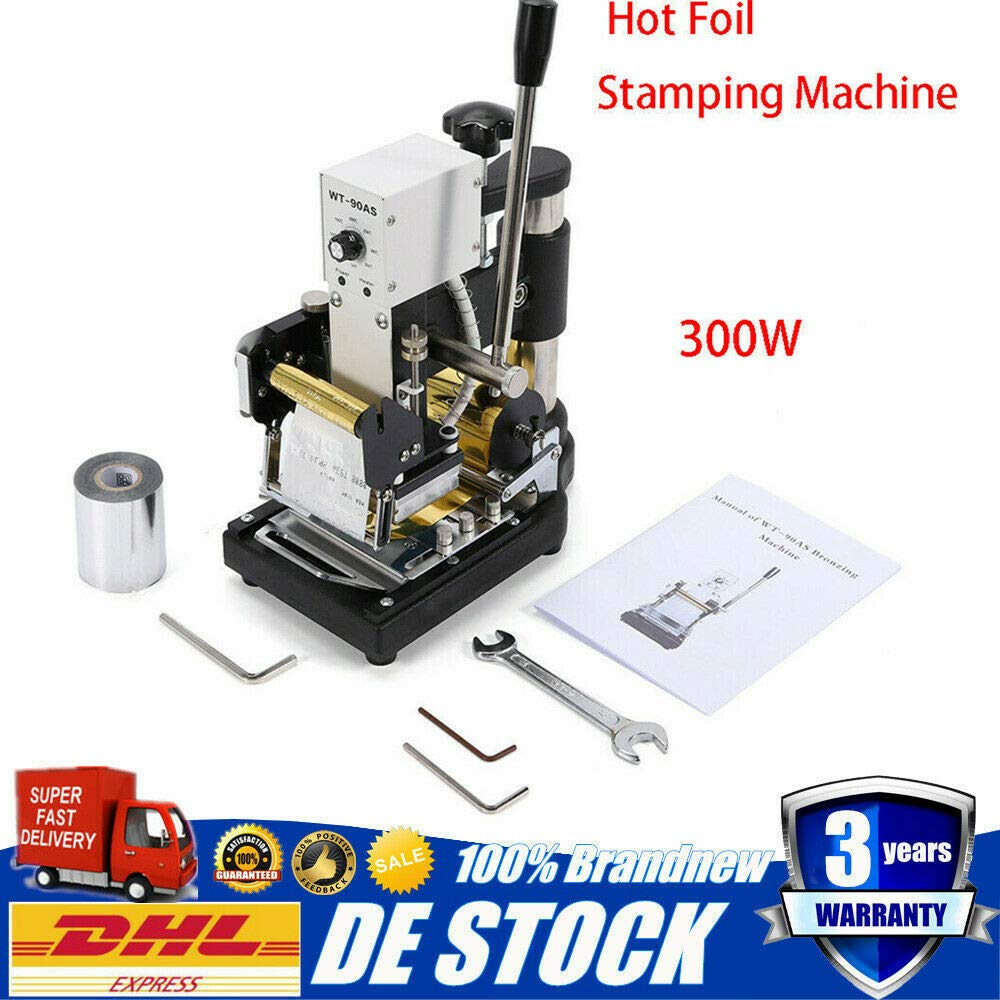 Hot Foil Stamping Machine Manual PVC Card Logo Embossing Machine Stainless Steel PVC Leather PU Paper Logo Embossing Tool Temperature Control + Wrenches Kit 110V 300W (US Stock) by SHZICMY