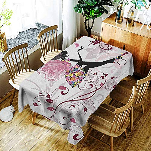 (XXANS Outdoor Tablecloth Rectangular,Princess,Flower Fairy with Butterflies Wings Branches Ornaments Floral Spring Forest,Party Decorations Table Cover Cloth,W54x72L Maroon Black Pink)