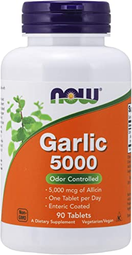 NOW Supplements, Garlic 5,000 Allium sativum , Enteric Coated, Odor Controlled, 90 Tablets