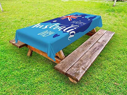 Ambesonne Australian Party Outdoor Tablecloth, Lettering Australia Day Words with Flag Map in Blue Shades, Decorative Washable Picnic Table Cloth, 58