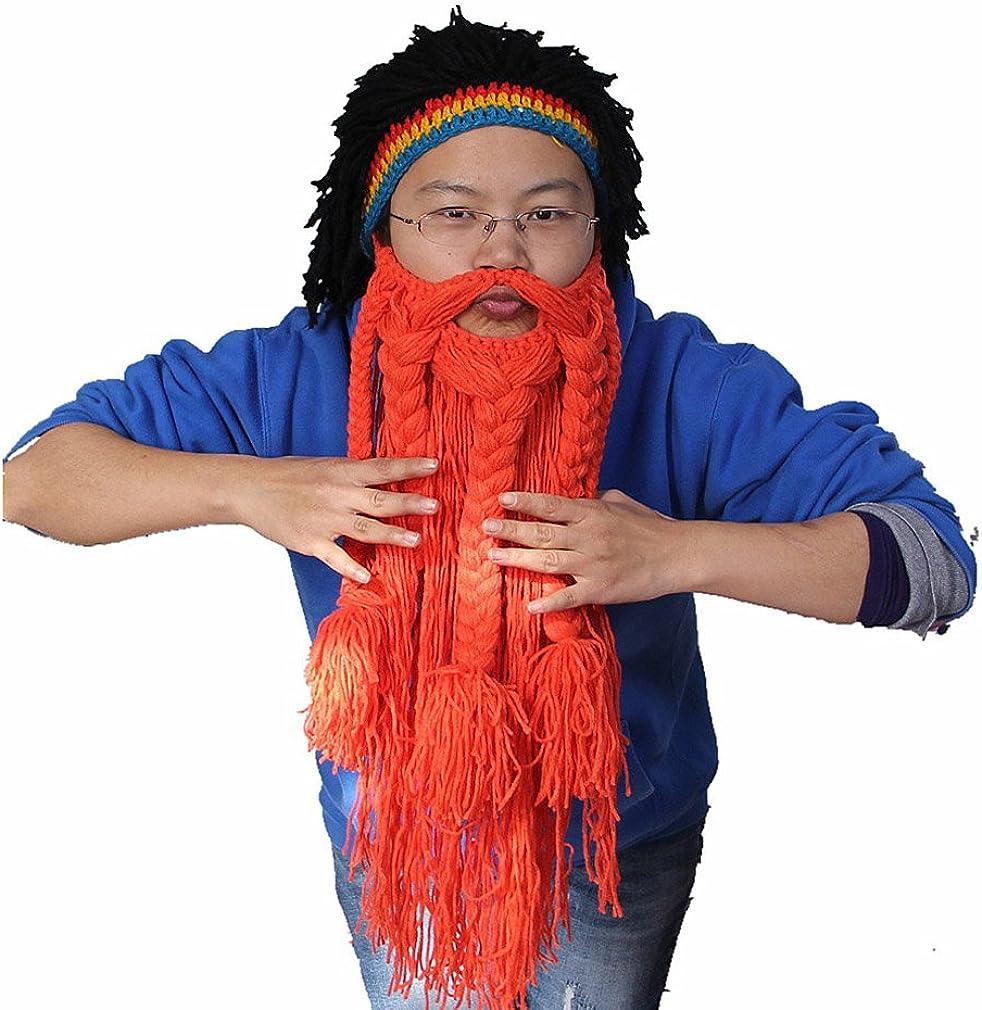 ALLDECOR 100/% Handmade Knitted Funny Black Wig Beard Hat Beanie Cap
