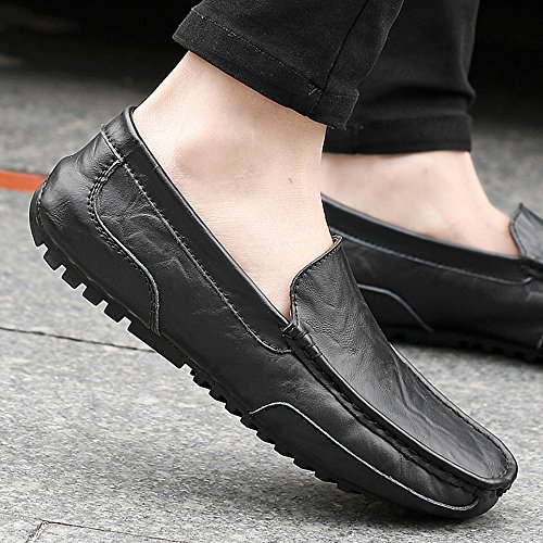 on Oxford Driving Casual Black Moccasins Lazy Shoes Loafers Men's Slip JACKSHIBO Shoes Zx8Yaa