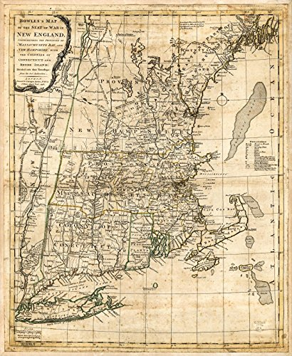 - Historic 1776 Map | Bowles's map of The seat of war in New England. Comprehending The Provinces of Massachusets Bay, and New Hampshire; with The Colonies of Connecticut and Rhode Island 20in x 24in