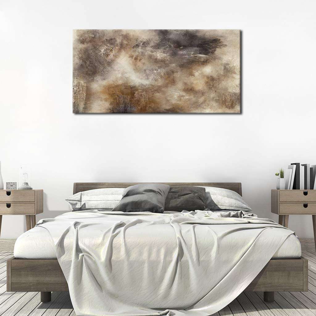 arteWOODS Vintage Abstract Wall Art for Living Room Decoration Dark Brown Sepia Abstract Painting Prints Artwork Canvas Picture for Bedroom Wall Decor Framed Ready to Hang 20\