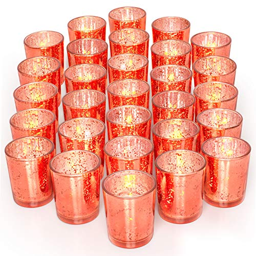 LETINE 36pcs Votive Candle Holders for Party Decorations - Mercury Glass Coral Tealight Candle Holder for Party/Wedding/Birthday/Bridal Centerpieces