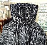 Thomas Collection Black White Fur Throw Blanket & Bedspread, Wolf Faux Fur, Black White Luxury Faux Fur, Throw Blanket, Luxury Plush Faux Fur, Made in America, 16417