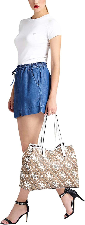 Guess Vikky Womens White-Brown Shoulder Bag Multicolour