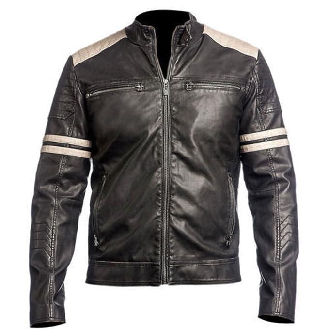 Amazon.com: Nova chaquetas de piel para hombre super Biker ...