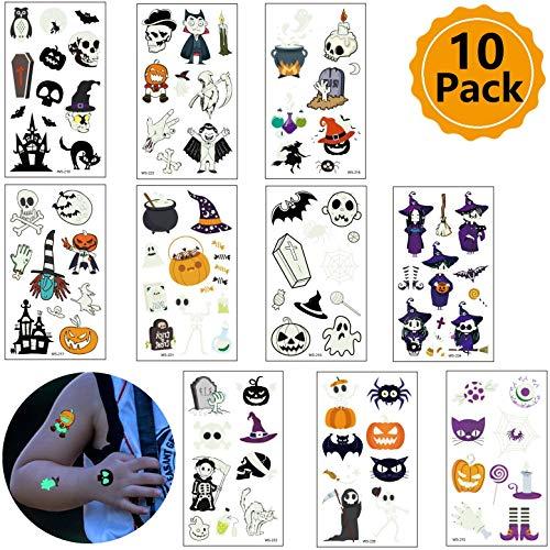 Spider Web Pumpkin (10 Sheets Halloween Face Tattoo Luminous Spider Web Pumpkin Face Simulation Cartoon Sticker Children's Luminous)