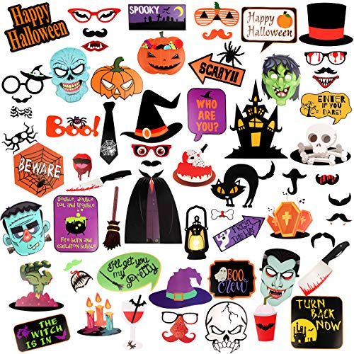 Kidcheer Halloween Photo Booth Props 66pcs DIY Kit for Halloween theme Wedding, Birthday, Party, Photo Booth Novelty Dress Up Accessories Halloween Party Decorations -