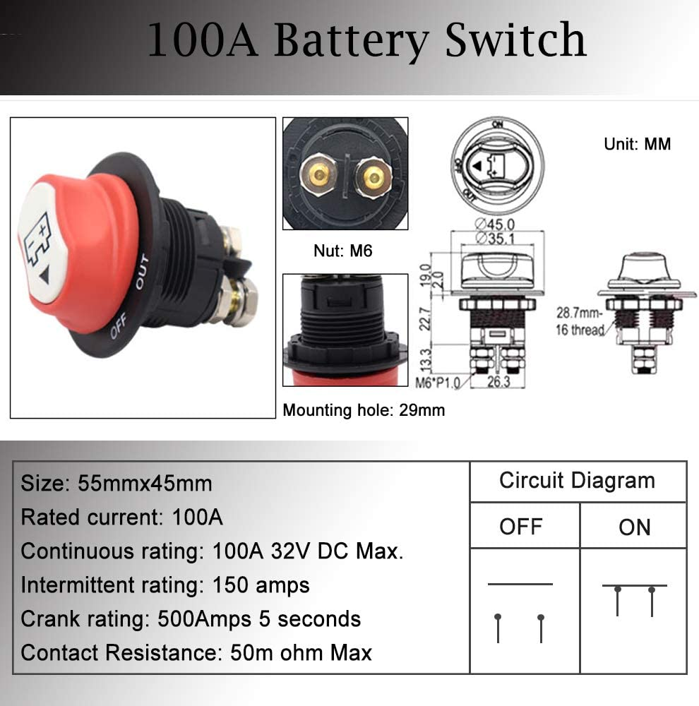 Heavy Duty Battery Isolator Kill Switch MAX 50V DC Cut Shut Off Switch for Cars Off-Road Trucks Motorcycles Boats ON-OFF-OUT 50A Heart Horse RV Battery Switch
