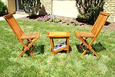 ALA TEAK Wood Patio Garden Indoor/Outdoor Yard Coffee Side Table, Waterproof, Fully Assembled Bath Spa, Shower Shelf Storage