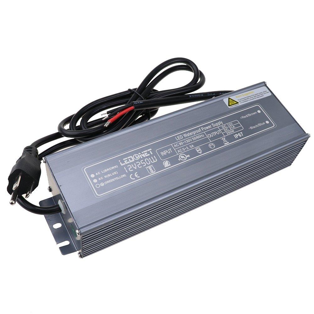 LEDENET 250 Watt Waterproof LED Power Suppply Driver Transformer Ac 90-130 Volt to 12 Volt DC Output
