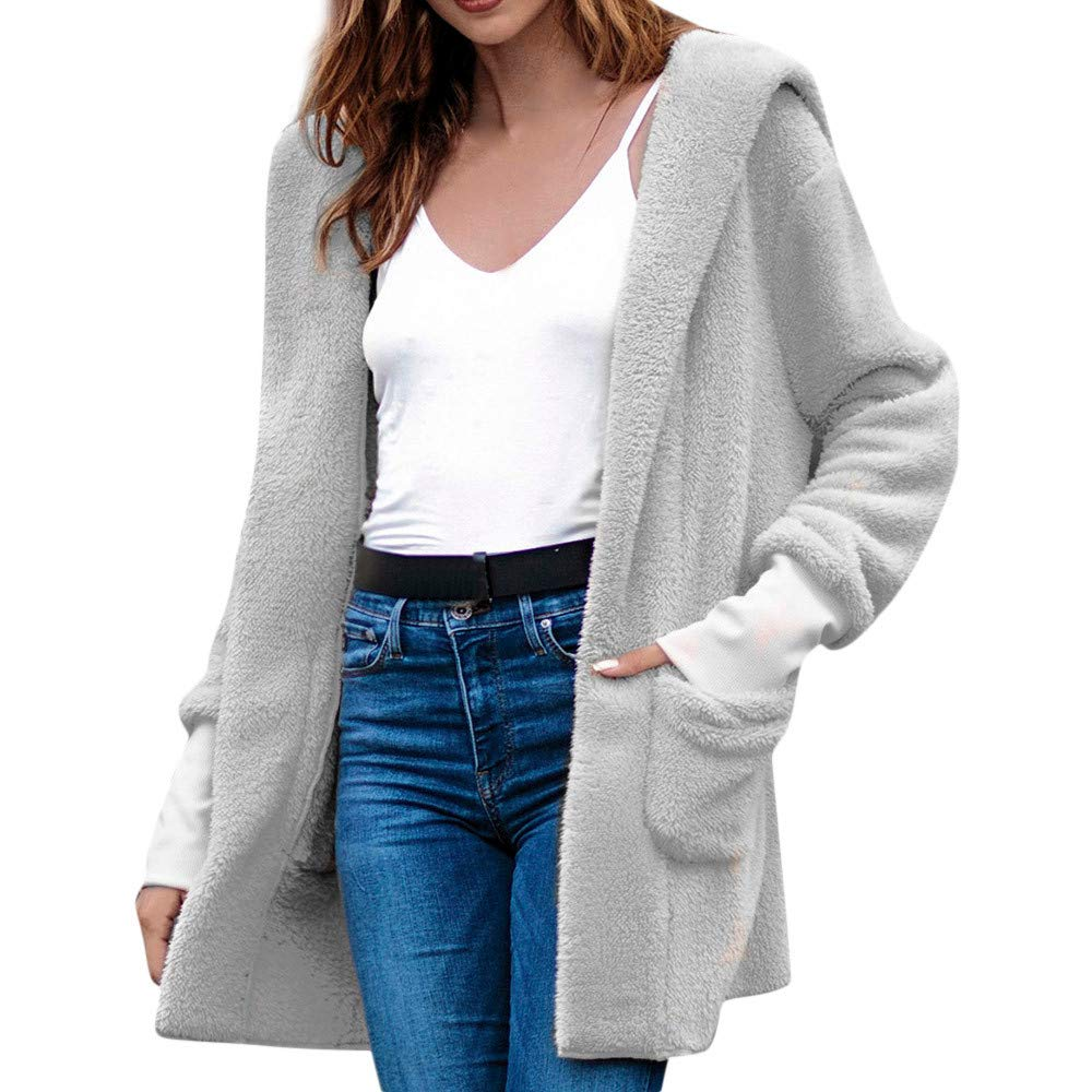 AIEason-women blouse Women's Winter High-End Mid-Length Hooded Plush Pocket Solid Color Coat