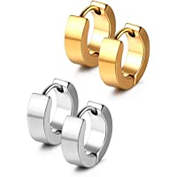 JewelrieShop Men Jewelry Set Huggie Earrings Hinged Hoop Dangle Earrings, Stainless Steel, Hypoallergenic, Urban Hoop…