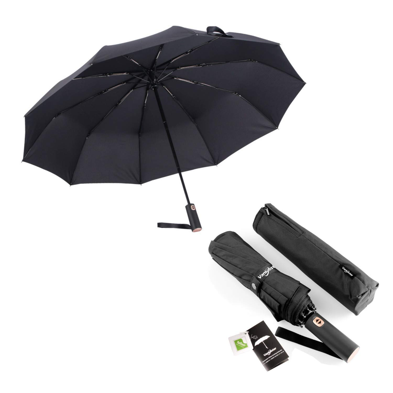 Auto Open Close Umbrella, Lengthened Handle Teflon Umbrella Fast Drying 46 Inch Brolly 10 Strong Ribs w/Zipper Pouch for Men Women(Black)