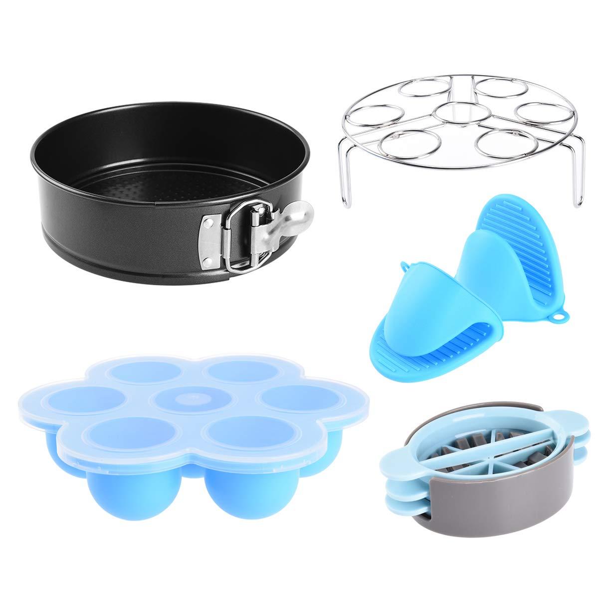 Uarter Instant Pots Accessories Set 7inch Carbon Steel Cake Pan Stainless Steel Egg Steamer Rack Silicone Egg Bites Mold Oven Mitts Egg Slicer, Set of 5
