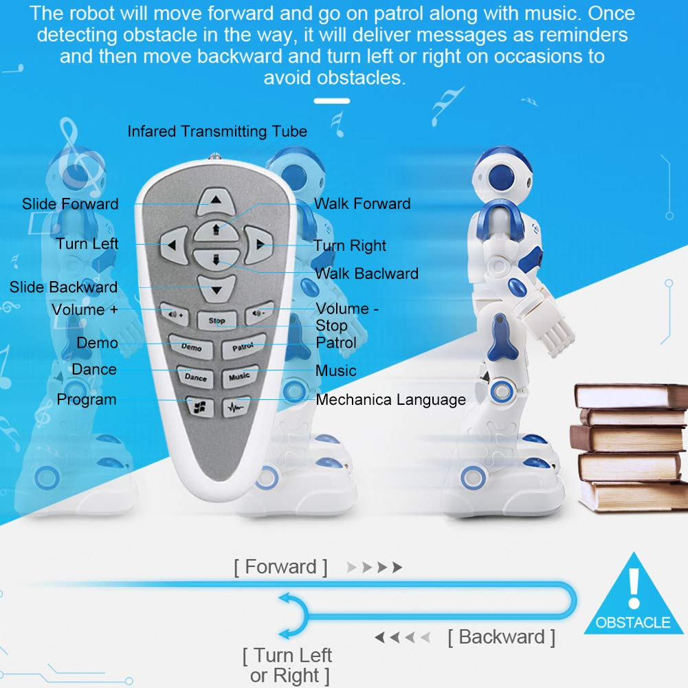 Yoego Remote Control Robot, Gesture Control Robot Toy for Kids, Smart Robot with Learning Music Programmable Walking Dancing Singing, Rechargeable Gesture Sensing Rc Robot Kit (Blue) by Yoego (Image #7)