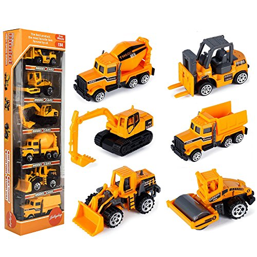 JellyDog Inertia Toy Early Engineering Vehicles Friction Powered Kids Dumper, Bulldozers, Forklift, Tank Truck, Asphalt Car and Excavator Toy for Children Kids Boys and Girls, Set of 6]()