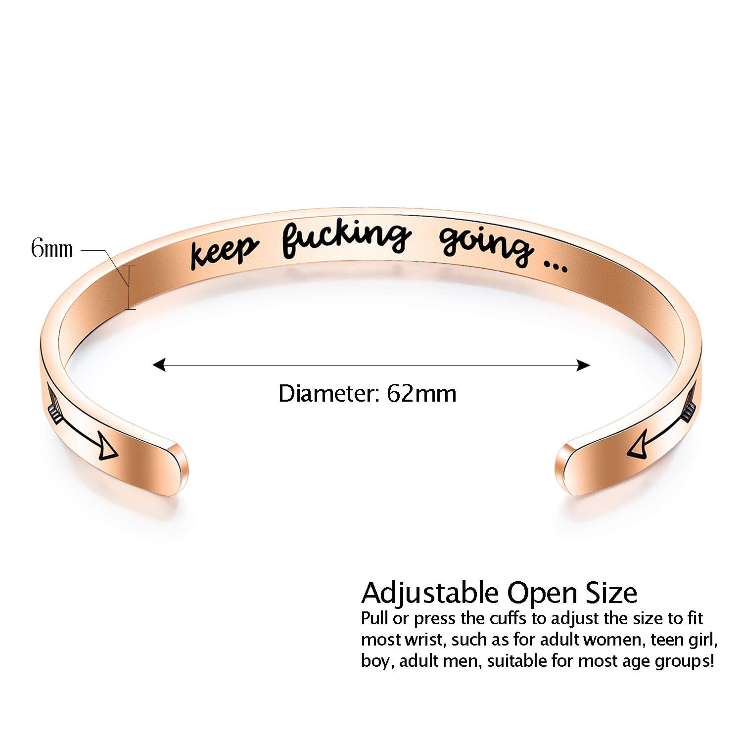 GAGAFEEL Inspirational Bracelet Mantra Cuff Engraved Keep Going Stainless Steel Bangle Encouragement Jewelry Gift for Women Girl Teen Friends (Rose Gold)