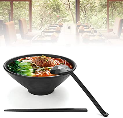 Tazones de sopa 4 juegos (12 piezas) Juego grande de tazón de ramen japonés, viene con cuchara y palillos, melamina de calidad de restaurante, para fideos, Pho, fideos, Udon, tailandés, vajilla china: