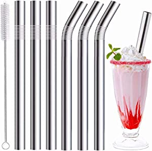 Stainless Steel Smoothie Straws, 0.4'' Extra Wide Reusable Metal Drinking Straws for Milkshake, Smoothie, Beverage, Set of 6 with 1 Cleaning Brush (3pcs 10.5'' Bent |3pcs 8.5'' Straight)