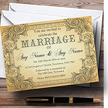 Amazon Com Typography Vintage Brown Postcard Personalized Wedding