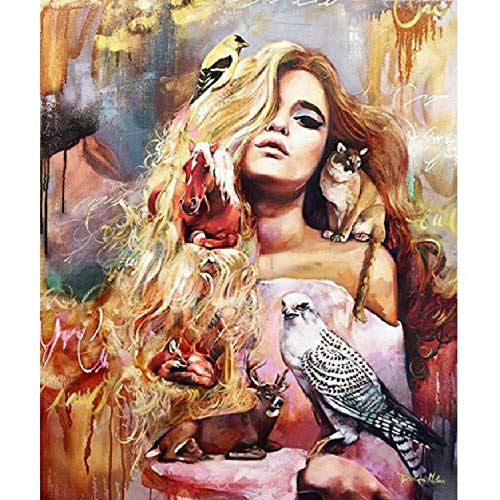 Jigsaw Puzzle 1000 Piece Adult Game Wooden Puzzle 3D DIY Blond Hair Beauty with Animals Collectibles Art Scenery Animals Home Decorations Children Old People Couples