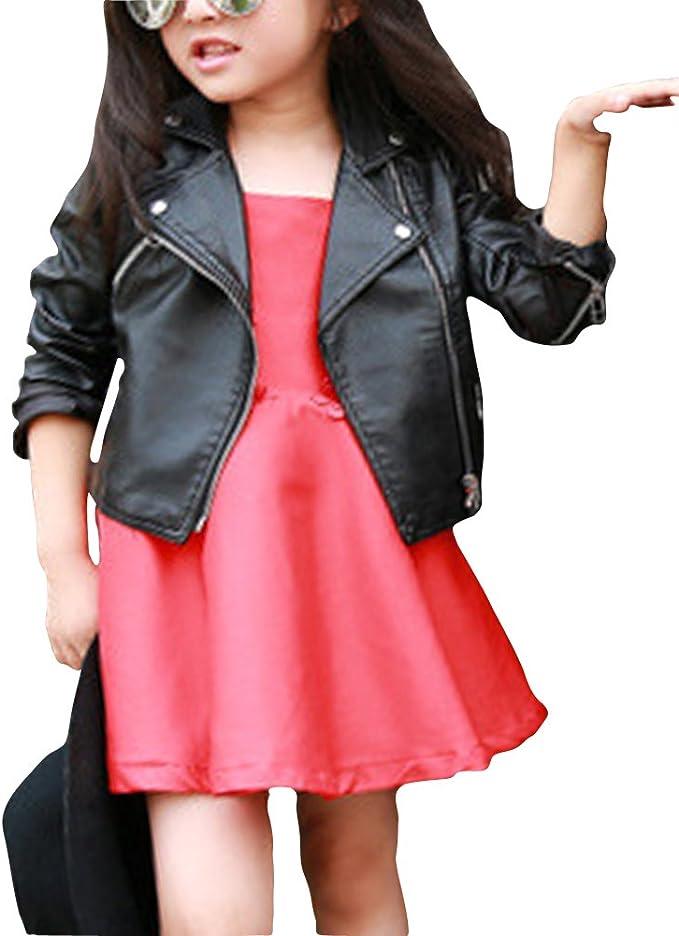 Quge Bebe Niñas Chaqueta Imitacion de Cuero Ropa de Motociclista Jacket Corta Outwear Negro 140: Amazon.es: Ropa y accesorios