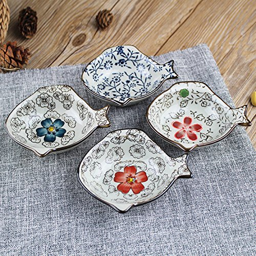 Handmade Ceramic Condiment Dish Plate Cute Set Of 4 Asian Style Sauce Dishes Plate Soy Sauce Dish Cream Soup Bowl And Saucer (fish shape)