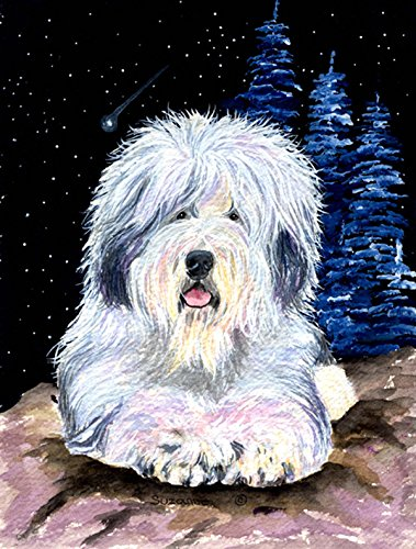 Caroline's Treasures SS8443CHF Starry Night Old English Sheepdog Flag Canvas, Large, Multicolor