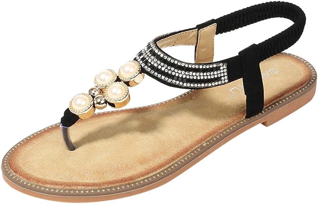Sandalias Planas De Verano Para Mujer, Zapatillas De Chanclas Con Perlas De Diamantes De ImitacióN De Bohemia Para Mujer Zapatos De CuñA: Amazon.es: Iluminación