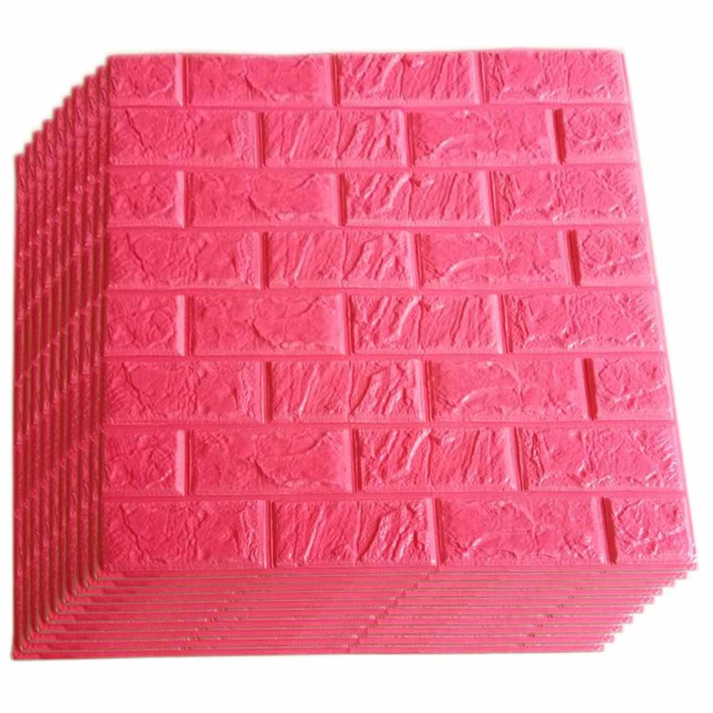 Red Foam Brick Wall Panels, 3D Foam Brick Peel and Stick Wallpaper Self-Adhesive Removable Wall Decor for TV Background, Kids Children Girl Room, Bedroom, Kindergarten/10PACk