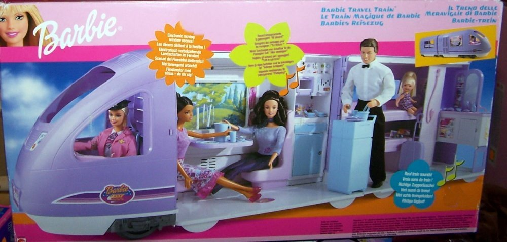 Barbie Travel Train Vehicle Playset with Sounds, Electronic Moving Window Scenery & More (2001)
