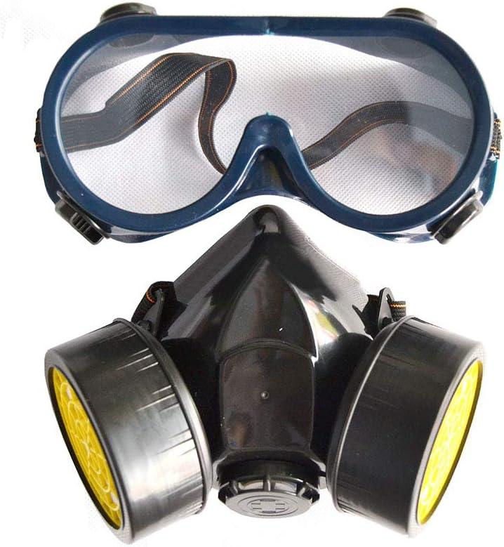 WOFEI Portátil para Toda la Cara Ventilative bioquímicos, Anti-Gas y Polvo de plaguicidas, con Filtro de latas Caja Reutilizable Doble Seguridad para Adultos con los vidrios