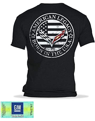 df1cf99d C7 Corvette Born in The USA American Legacy Men's T-Shirt (Medium, Black