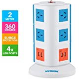 Safemore 3 Level VPS Origin Power Board Tower 240V 10 Outlets/4 USB Charger 2.1A