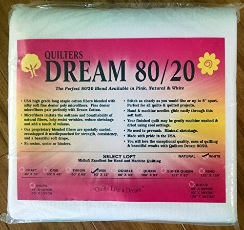 Quilter's Dream 80/20, White, Select Loft Batting - Twin Size (20 Cotton Batting)