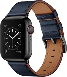 OUHENG Compatible with Apple Watch Band 42mm 44mm, Genuine Leather Band Replacement Strap Compatible with Apple Watch Series 6/5/4/3/2/1/SE 44mm 42mm, Dark Blue Band with Black Adapter