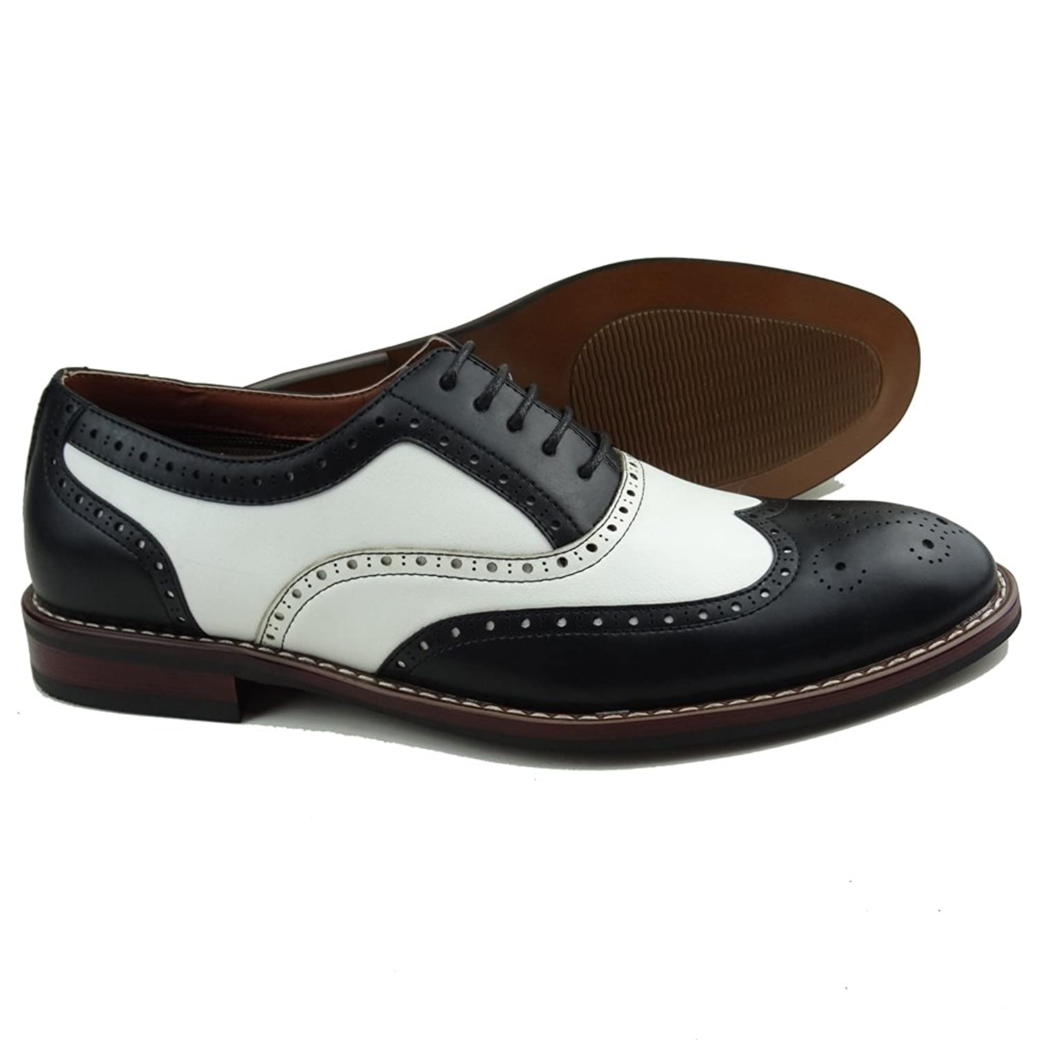 Mens 1920s Shoes History and Buying Guide  Mens Black White Lace Up Wing Tip Perforated Oxford Dress Shoes $34.99 AT vintagedancer.com
